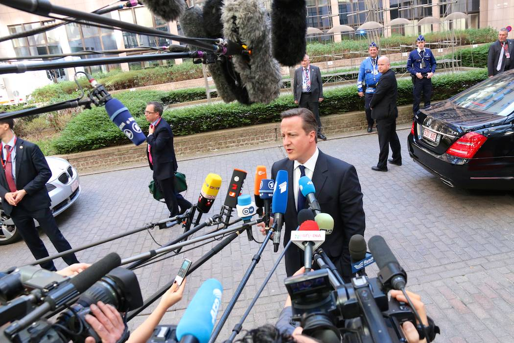 Prime Minister David Cameron speaks ahead of the European Council in Brussels, Belgium