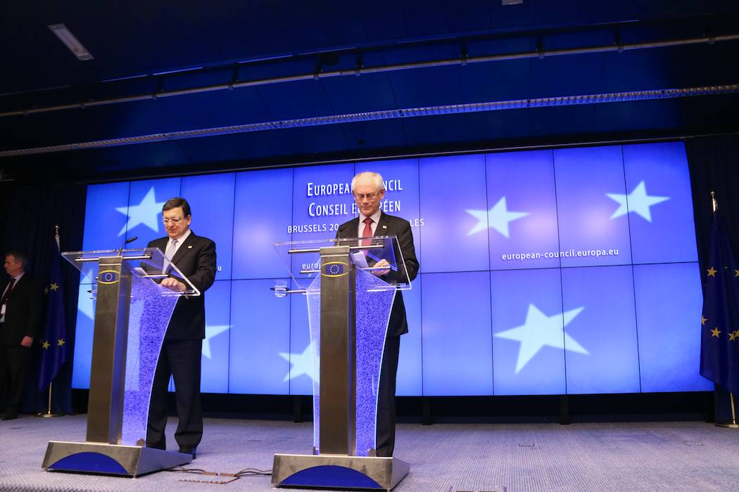 José Manuel Barroso, President of the European Commission (left), and Herman van Rompuy, President of the European Council, speaking at a press conference following the first day of the European Council in Brussels, Belgium