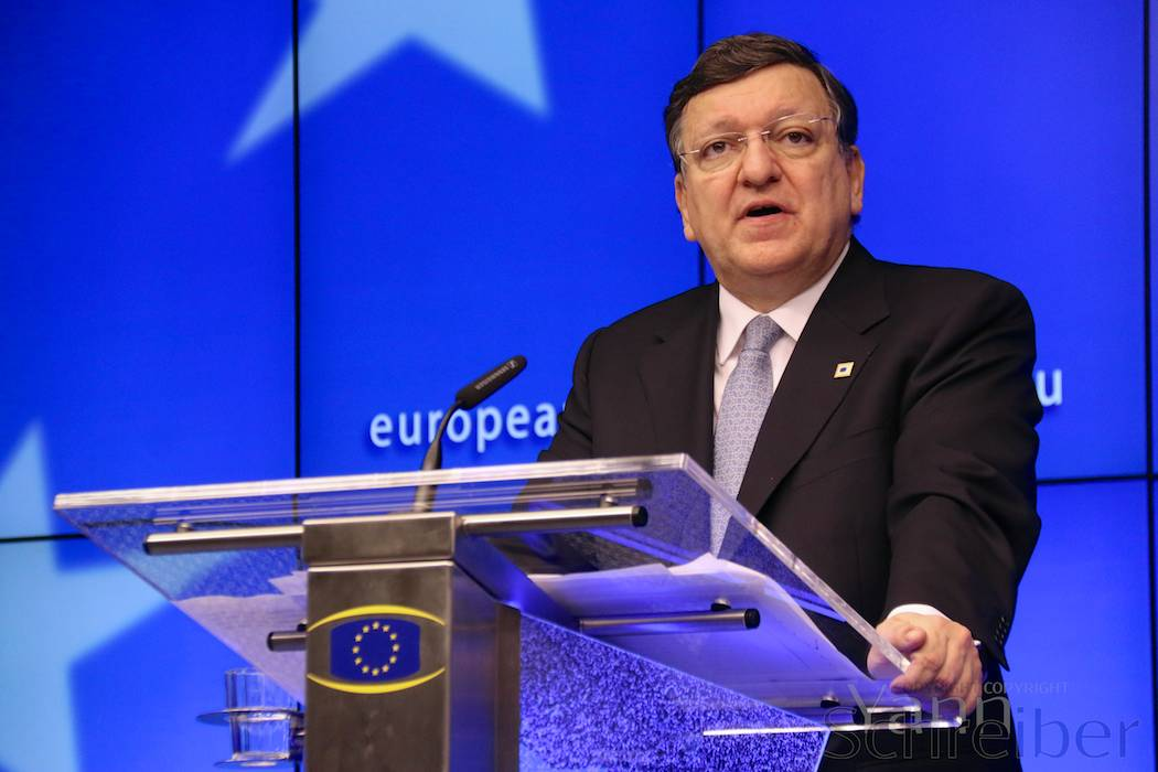 José Manuel Barroso, President of the European Commission speaking at a press conference following the first day of the European Council in Brussels, Belgium