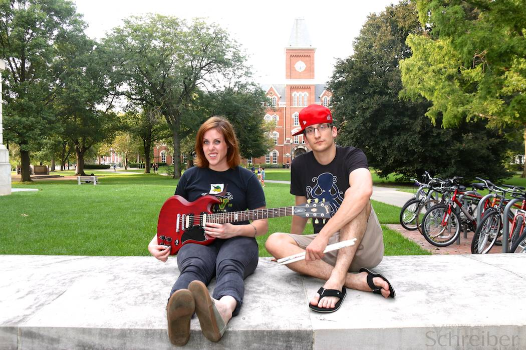 Jamie Rogers (left) and Zak Toth from the band Two Years Later pose for a photo in The Oval, Sept. 1, 2014. (Yann Schreiber)