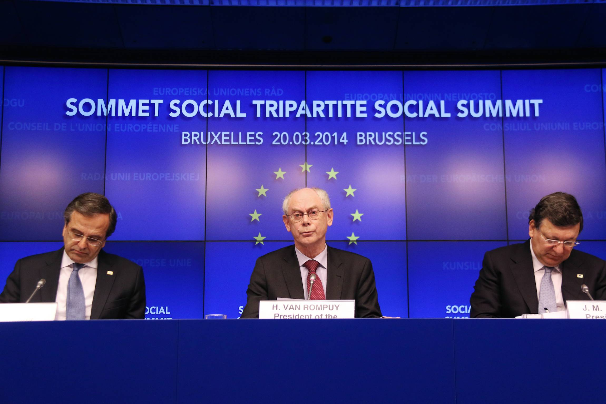 Greek Prime Minister Andonis Samaras, President of the European Council Herman Van Rompuy and the president of the European Commission, José Manuel Barroso (from left), give a press conference following the Tripartite Social Summit, Mar. 20, 2014, in Brussels, Belgium.