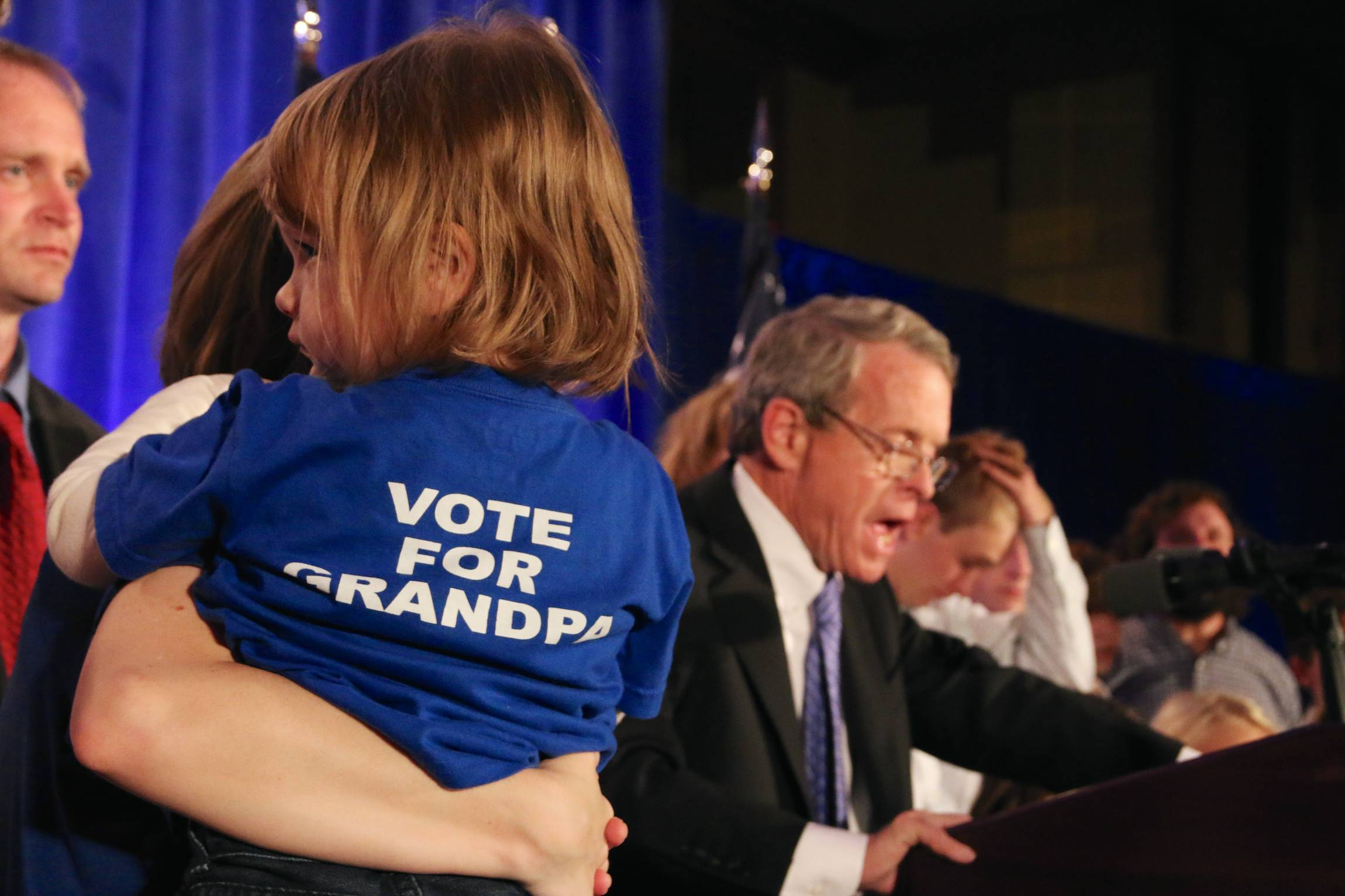A attorney geneal of Ohio Mike DeWine, speeks, accompagnied by his family, at a Republican Party event in the Renaissance hotel in Columbus, Ohio, Tuesday, Nov. 4 2014, after being reelected in his office.