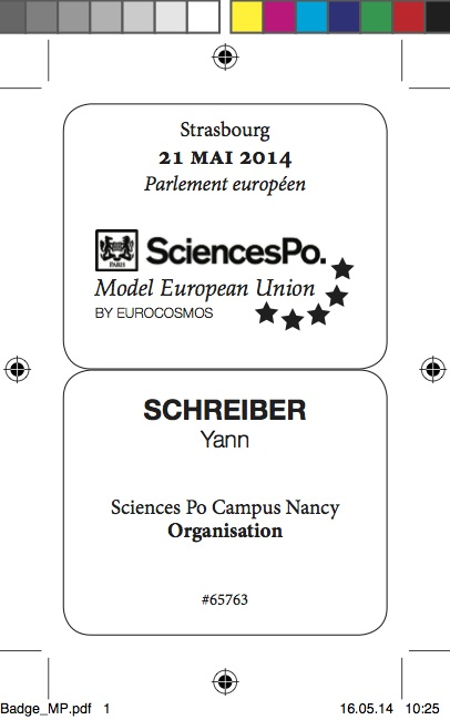 Official ID badge for the Model European Union in Strasbourg, printed on yellow paper. Design approved by the security office of the European Parliament.