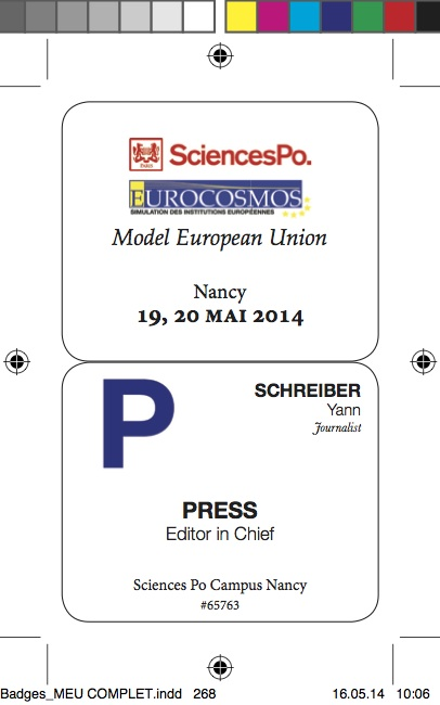 Official participants badge for the Model European Union.