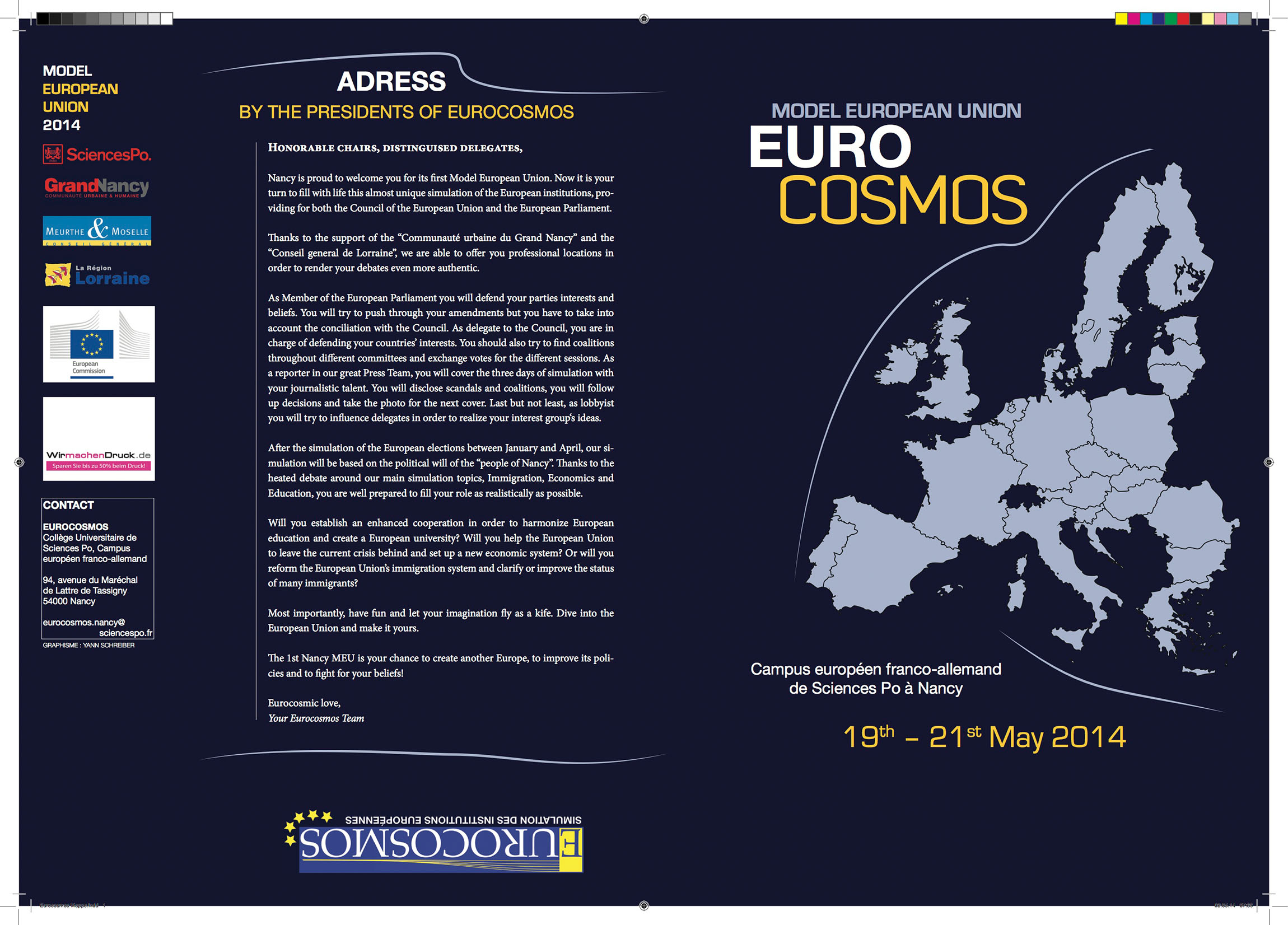 Booklet distributed at the Model European Union simulation 2014.