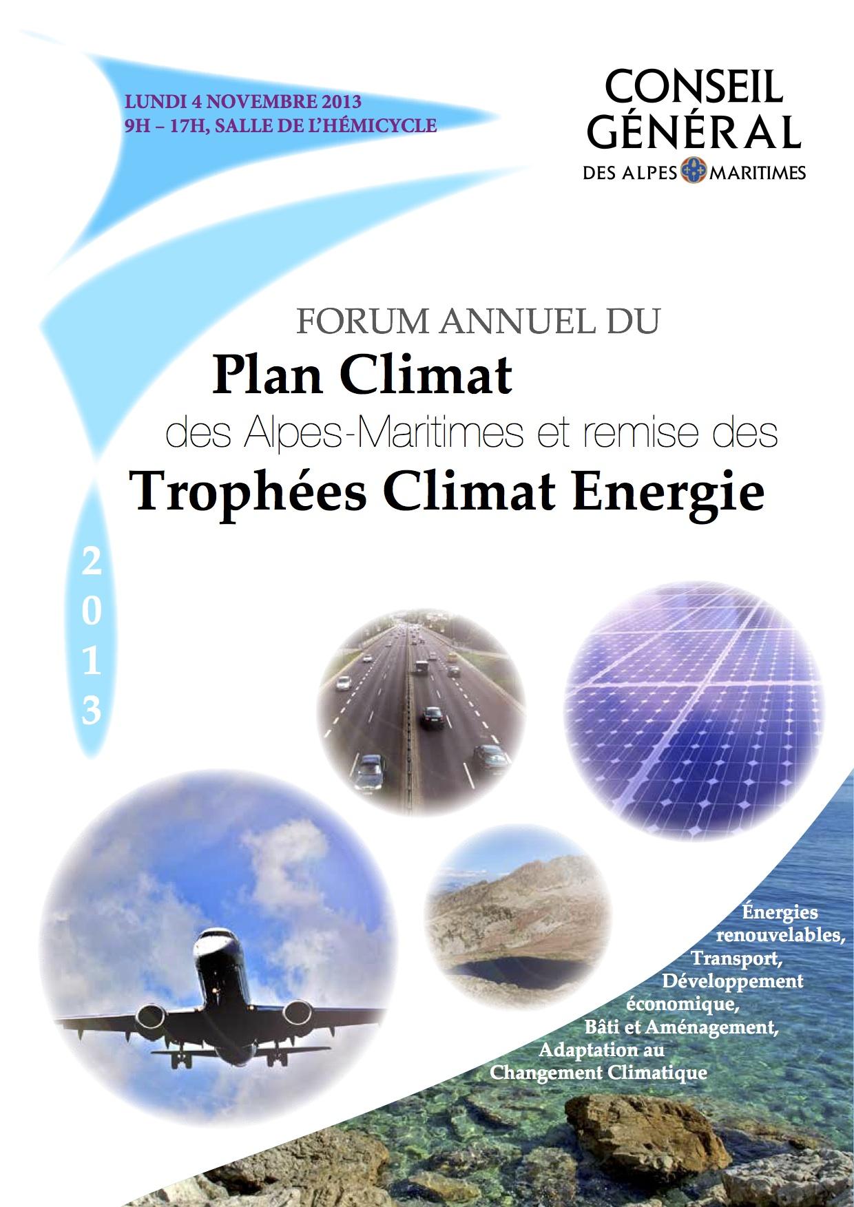 Couverture du programme du forum annuel du Plan Climat des Alpes Maritimes réalisé lors d'un stage au cabinet du Président, juillet 2013.