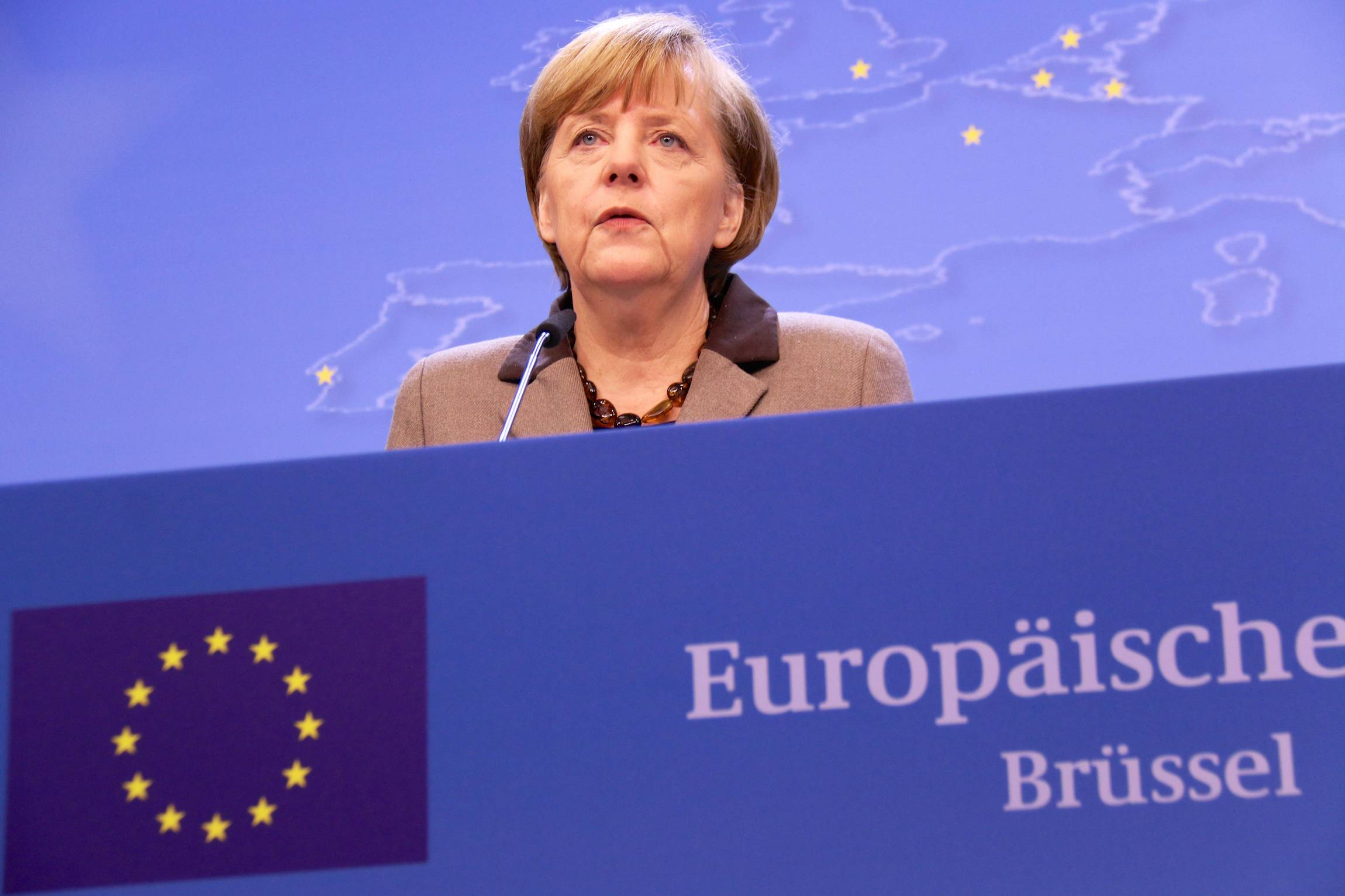 German Chancellor Angela Merkel speaks after the European Council in Brussels, March 21, 2014.