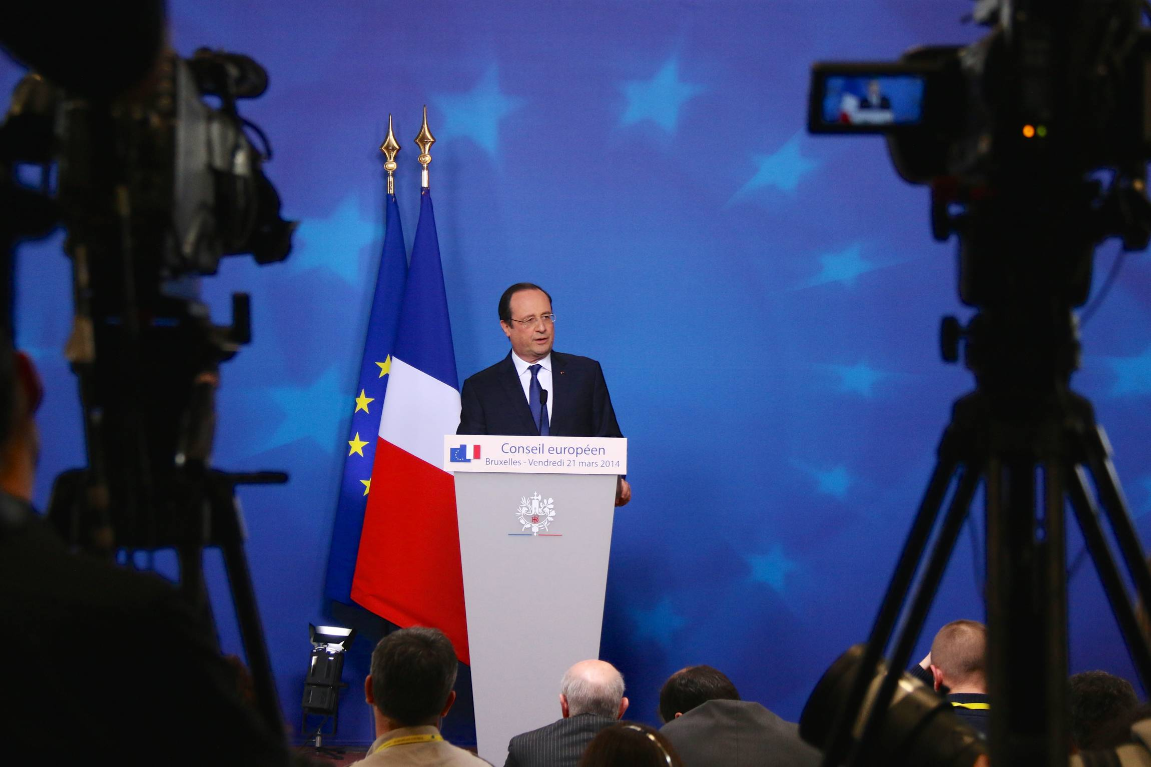 Francois Hollande, President of France, speaks after the European Council in Brussels, March 21, 2015.