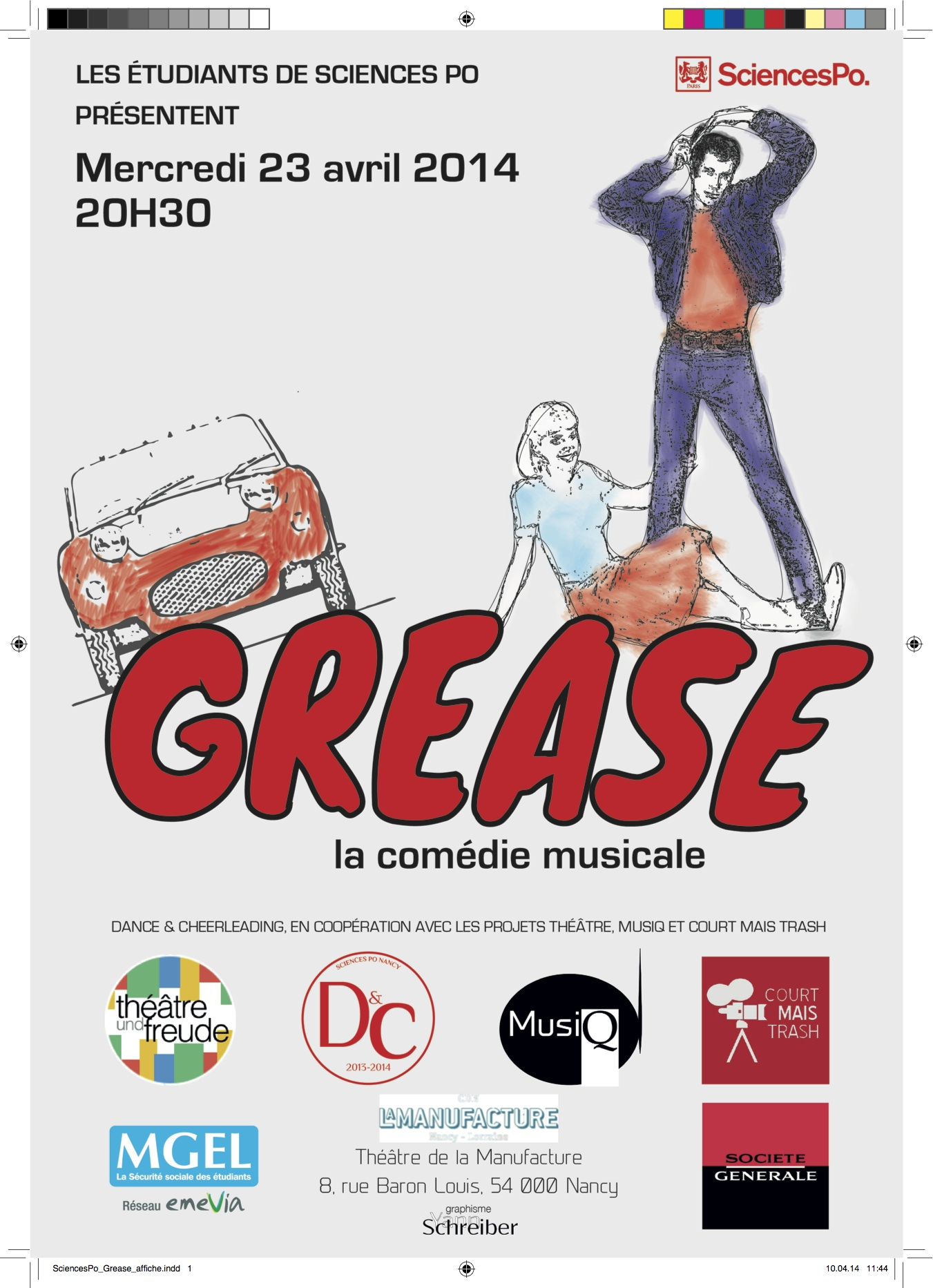 Advertising for the 2014 musical at Sciences Po: Grease.