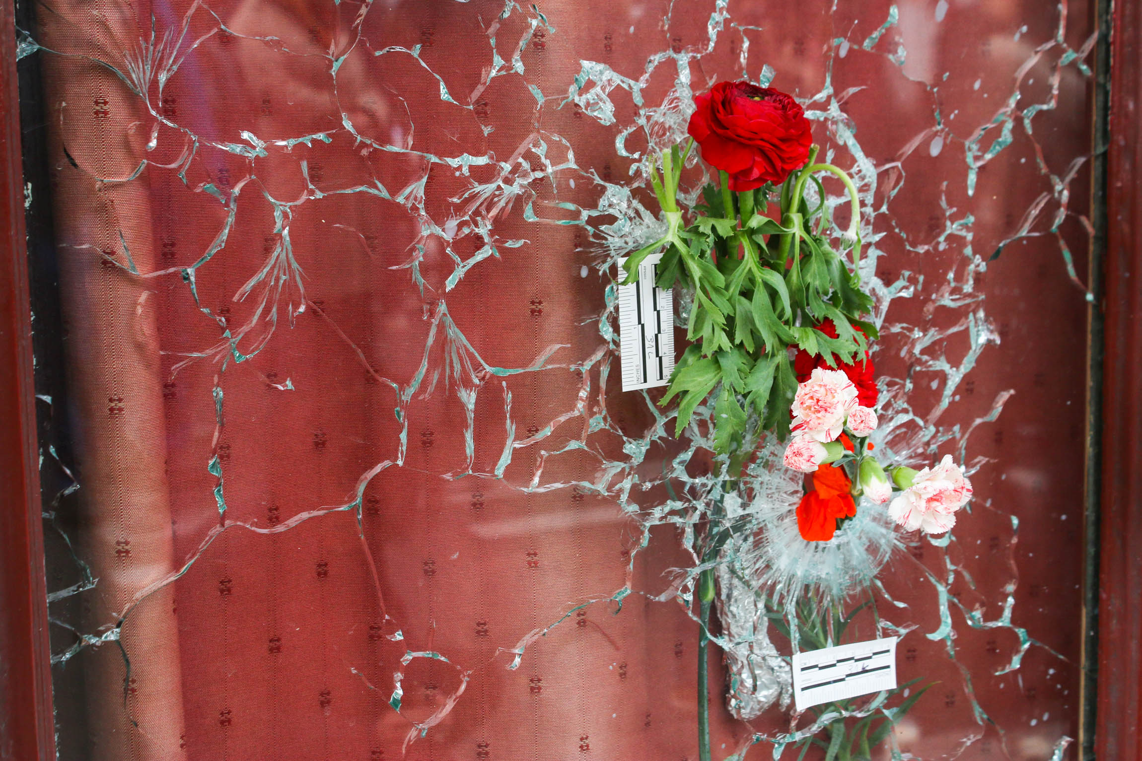 Flowers have been placed in a bullet hole at the Carillon restaurant in Paris, Nov 2015.