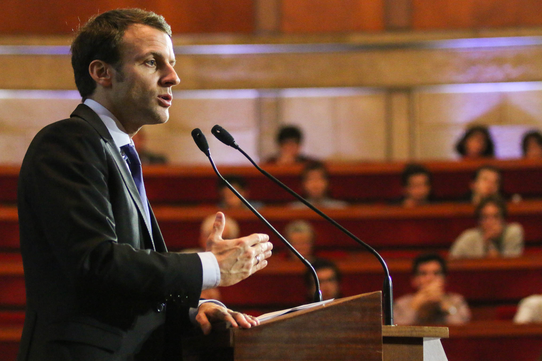 "Emmanuel Macron speaks at the ""5e Université des Gracques"", a social-democrat influence group."